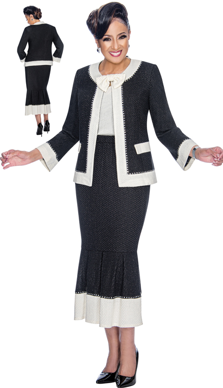 Dorinda Clark Cole 1883-BW ( 3pc Womens Knit Suit For Church With Rhinestone Trim, Detachable Bow, Jacket, Cami And Flounce Skirt )