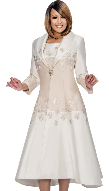 Dorinda Clark Cole 782-CH ( 2pc This Dress Has Shawl Collar Color Block With Placed Glower Embroidery With Jewel Neck Sleeveless Collor-Block Dress With Placed Flower Embroidery )