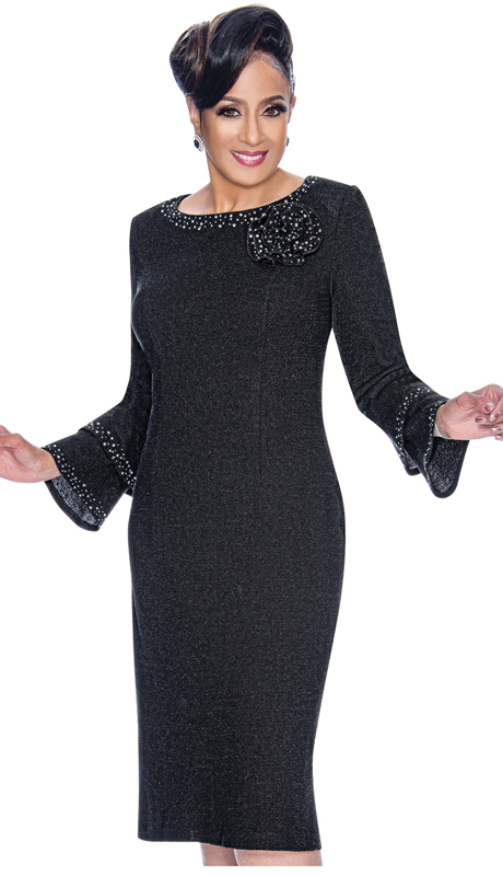 Dorinda Clark Cole 1871-BK ( 1pc Womens Knit Dress In Knit With Layered Flounce Sleeves, Rhinestone Trim And Fabric Rosette Brooch )