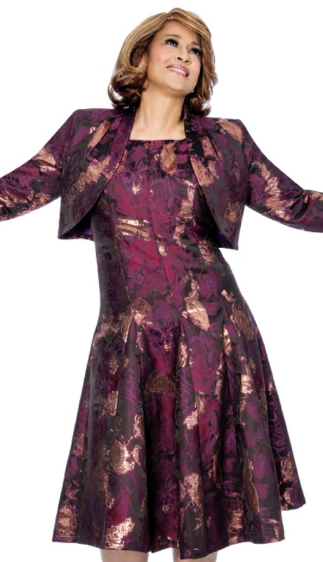 Dorinda Clark Cole 812-PUR ( 2pc Fit And Flare Pleated Dress Is Also With Pleated Bolero Jacket )