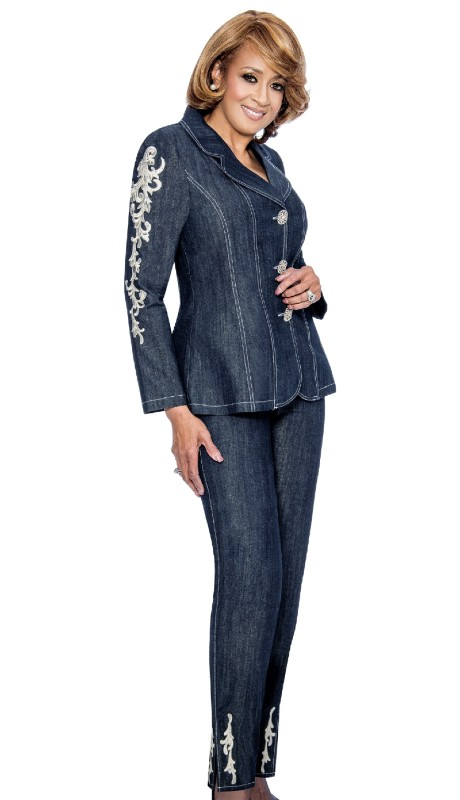 Dorinda Clark Cole 852-NA ( 2pc Notch Collar Jacket With Contrast Stitching And Contrast Filigree Embroidery On Sleeves And Back Of Jacket )