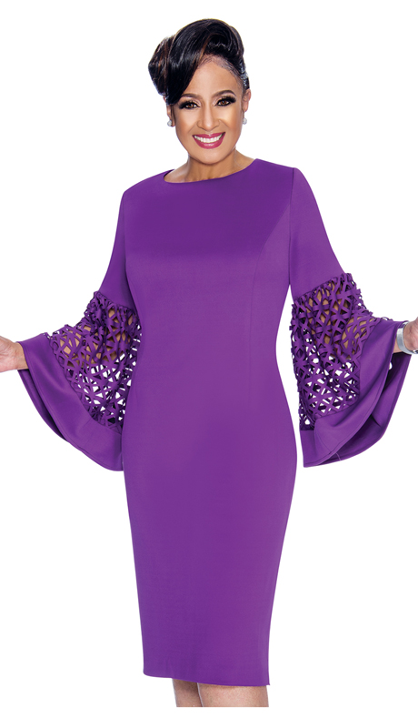 Dorinda Clark Cole 1861-PU ( 1pc Womens Silk Look Dress With Laser-Cut Bell Sleeves )