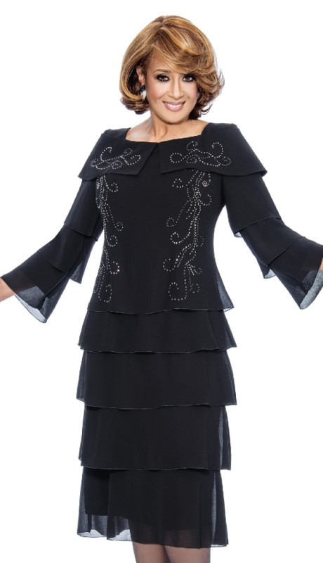 Dorinda Clark Cole 901-BLK ( 1pc Portrait Collar Dress With Multi Tier Bell Sleeves Decorative With Rhinestone Details On Collar And Front Of Dress Multi Tier Bottom )