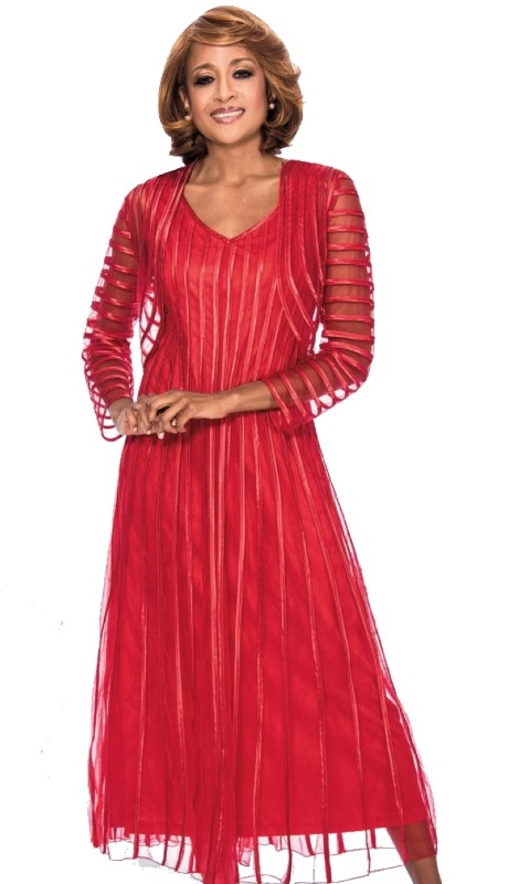 Dorinda Clark Cole 942-RE ( 2pc Novelty Designer Church Dress With Jacket And Ribbon Stripe )