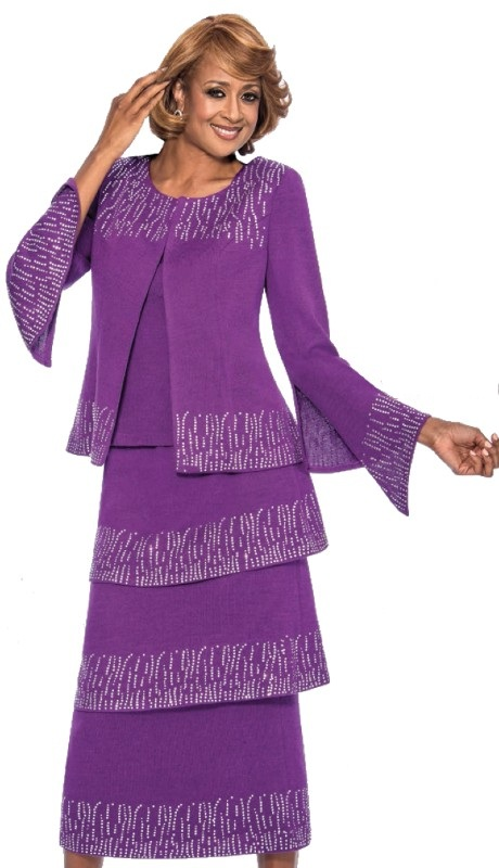Dorinda Clark Cole 963-WH ( 3pc Knit Designer Church Suit Rhinestone Embellished  Bell Sleeved Jacket, Cami And Layered Tier Skirt )