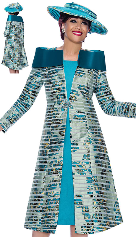 Dorinda Clark Cole 3952 ( 2pc Silk Look With Novelty Ladies Jacket Dress For Sunday With Beautiful Multi Pattern And Portrait Collar )