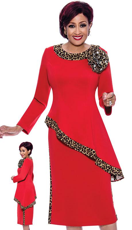 Dorinda Clark Cole 4002 ( 2pc Scuba Knit Ladies Church Suit With High Low Trim And Leopard Details Plus 3D Pin )