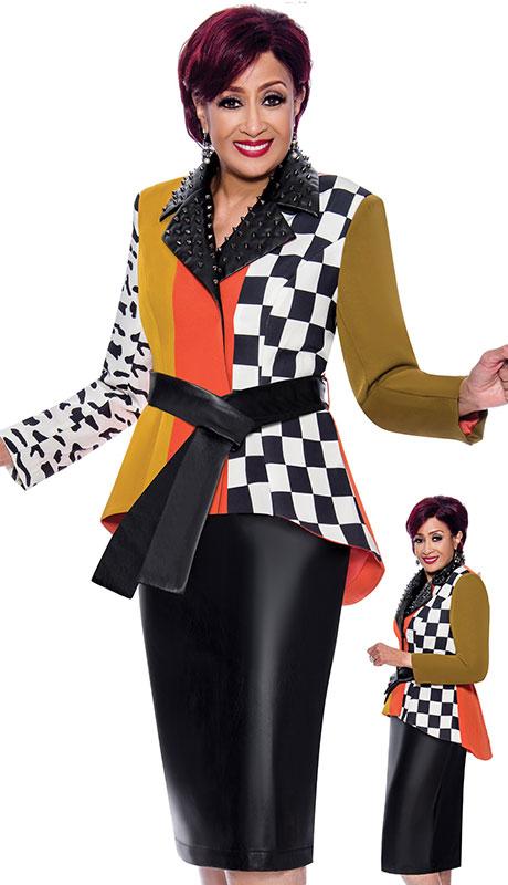 Dorinda Clark Cole 4022 ( 2pc Silk Look Ladies Church Suit With Multi Pattern And Leatherette Collar Plus Belt )