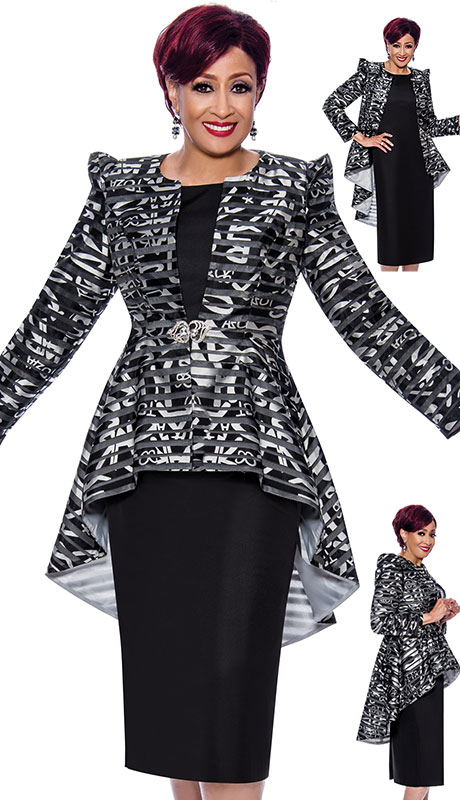 Dorinda Clark Cole 4042 ( 2pc Silk Look With Novelty Ladies Church Suit With Multi Pattern And Elegant Shoulders )