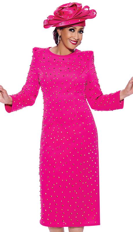 Dorinda Clark Cole 3921 ( 1pc Scuba Knit Womens Church Dress With Beautiful Gold Studs )