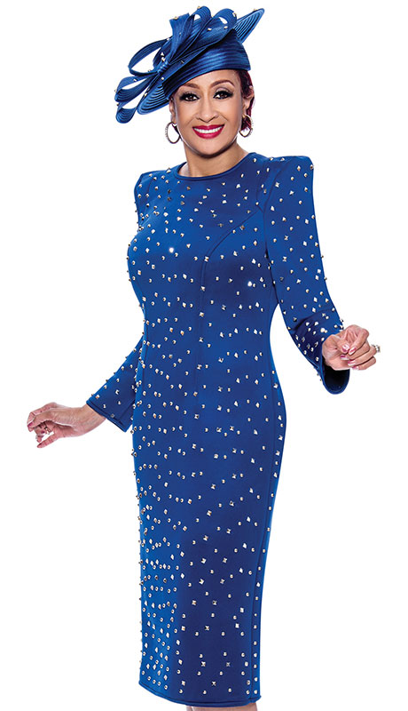 Dorinda Clark Cole 3921-RO ( 1pc Scuba Knit Womens Church Dress With Beautiful Silver Studs )