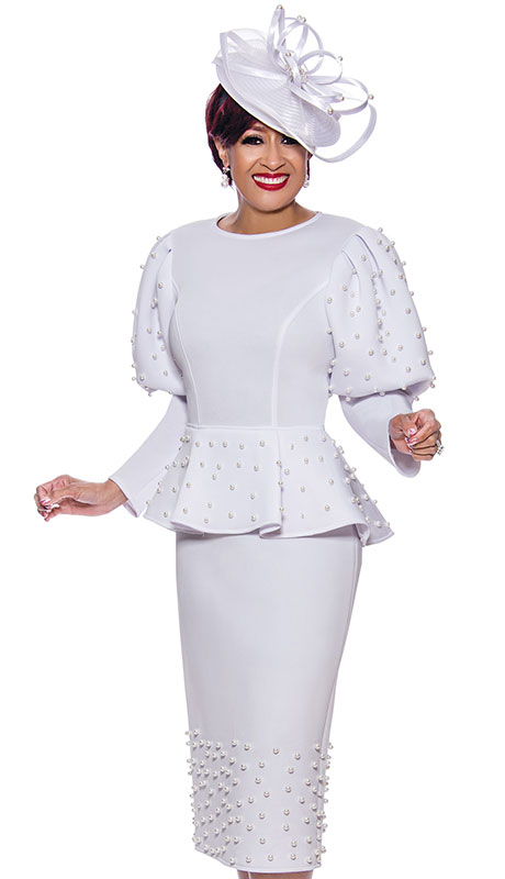 Dorinda Clark Cole 3931 ( 1pc Scuba Knit Womens Church Dress With Elegant Puffy Sleeves And Beautiful Pearls )