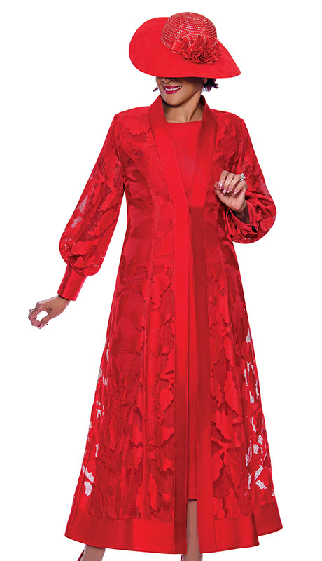 Dorinda Clark Cole 3942 ( 2pc Silk Look With Organza Ladies Jacket Dress For Sunday With Elegant Sleeves And Duster Jacket )