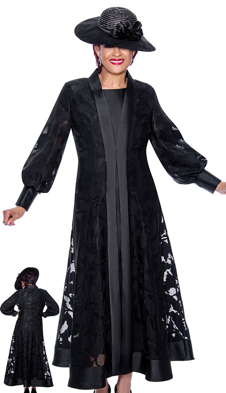 Dorinda Clark Cole 3942-BLK ( 2pc Silk Look With Organza Ladies Jacket Dress For Sunday With Elegant Sleeves And Duster Jacket )