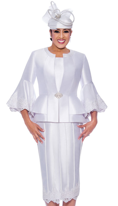 Dorinda Clark Cole 9053-WH ( 3pc Silk Womens Church Suit With Flared Lace Sleeves And Jacket )