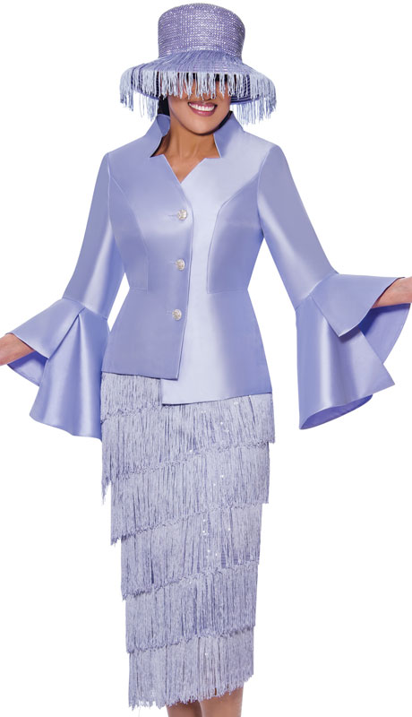 Dorinda Clark Cole 9032-LA ( 2pc Silk Womens Church Suit With Layered Fringe Skirt And Flared Sleeves )