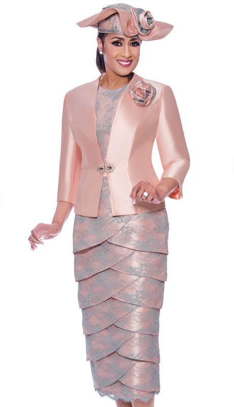 Dorinda Clark Cole 9023-PI ( 2pc Novelty Womans Church Suit With Scalloped Skirt And Silk Jacket )