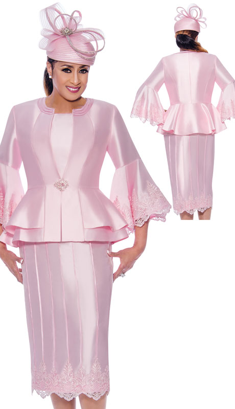 Dorinda Clark Cole 9053-PI ( 3pc Silk Womens Church Suit With Flared Lace Sleeves And Jacket )