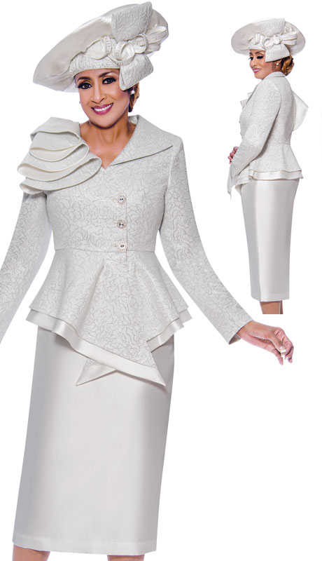 Dorinda Clark Cole 9042-WH ( 2pc Novelty First Ladies Church Suit With Brocade Jacket )