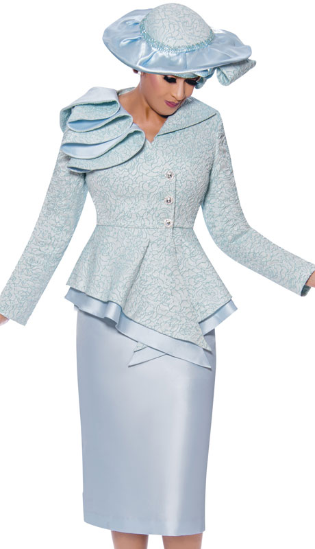 Dorinda Clark Cole 9042-BL ( 2pc Novelty First Ladies Church Suit With Brocade Jacket )