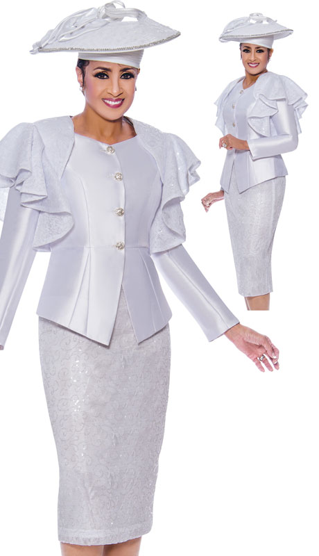 Dorinda Clark Cole 9002-WH ( 2pc Silk Womens Church Suit With Lace Shoulder Ruffles )
