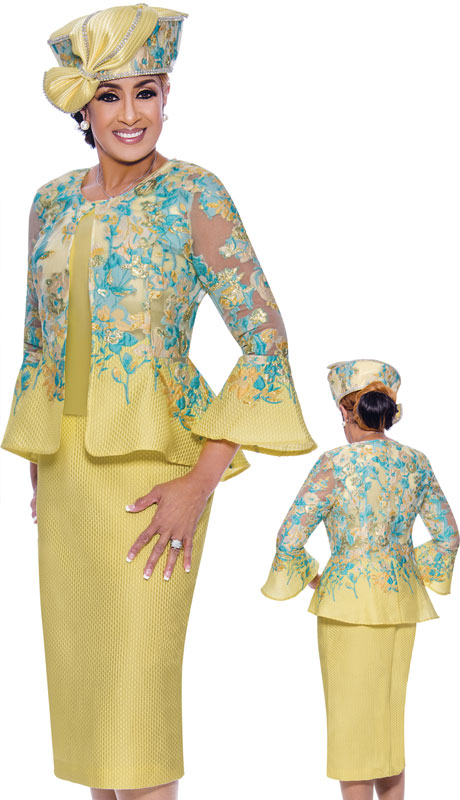 Dorinda Clark Cole 9073-LE ( 3pc Brocade Suit For Church With Flared Shear Sleeves )