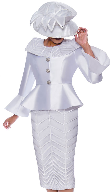 Dorinda Clark Cole 9092-WH ( 2pc Silk First Ladies Church Suit With Flared Sleeves )