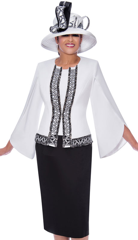 Dorinda Clark Cole 9083-BW ( 3pc Novelty Womens Church Suit With Flared Lace Sleeves And Jacket )