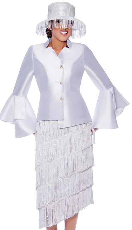 Dorinda Clark Cole 9032-WH ( 2pc Silk Womens Church Suit With Layered Fringe Skirt And Flared Sleeves  )