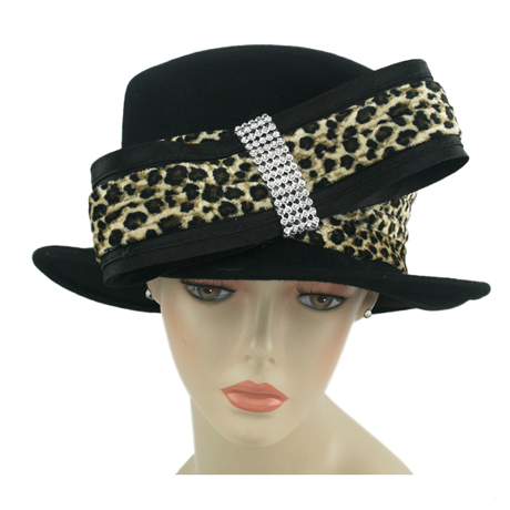 8270 ( Wool Felt Ladies Church Hat With Leo Trim )