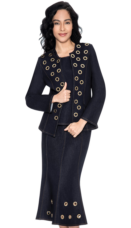 Devine Sport 51413-NA-IH ( 3pc Denim Womens Suit, Soft Stretch With Gold Grommet Design Jacket, Cami And Skirt )