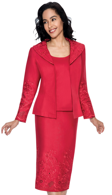 Devine Sport 51473-RE ( 3pc Denim Ladies Church Suit, Soft Stretch With Embroidered Floral Design And Eyelet Details On Jacket And Skirt With Cami )