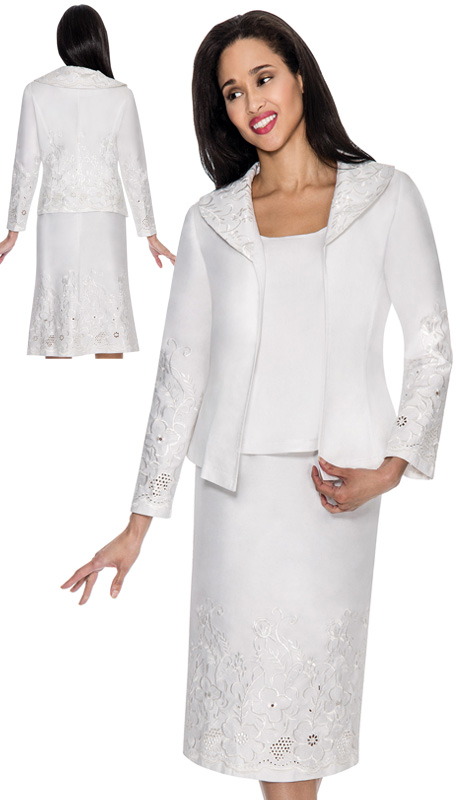 Devine Sport 51473-WH-IH ( 3pc Denim Ladies Church Suit, Soft Stretch With Embroidered Floral Design And Eyelet Details On Jacket And Skirt With Cami )