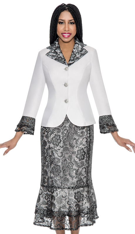 Devine Sport 51502 ( 2pc Denim Womens Church Suit With Soft Stretch And Layered Metallic Lace Jacket And Skirt )