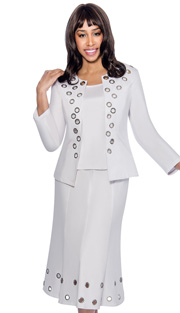 Devine Sport 51413-WH-IH ( 3pc Denim Womens Suit, Soft Stretch With Silver Grommet Design Jacket, Cami And Skirt )