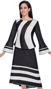 Devine Sport 51642-IH ( Striped Seamed Scattered Stud With Bell Sleeve Top And High Low Skirt )