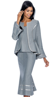 Devine Sport 51652-IH ( 3pc Denim Ladies Church Suit With Silver Trim And Scattered Silver Studs, Peplum And Flounce Sleeve Jacket, Cami And Mermaid Skirt )
