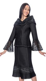 Devine Sport 61672 ( Ladies Lace Bell Cuff Denim Skirt Suit With Portrait Collar )