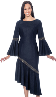 Devine Sport 61711 ( 1pc Denim Dress For Church With Angled Flounce Hem & Bell Cuff Sleeves )