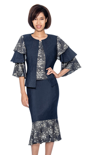 Devine Sport 61693 ( 2pc Denim Flounce Hem Skirt Suit With Solid & Patterned Tier Sleeve Jacket )