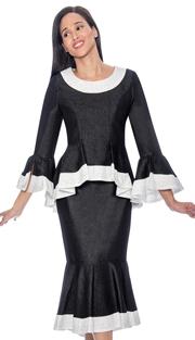 Devine Sport 61752 (  2pc Womens Denim Flounce Hem Skirt Suit With Peplum Jacket & Embellished Trim )