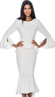 Devine Sport 61752-WH  ( 2pc Denim Flounce Hem Skirt Suit With Peplum Jacket & Embellished Trim )
