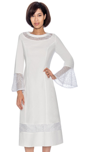 Devine Sport 61811 ( 1pc Bell Cuff Sleeve Denim Dress With Mesh Inset Design )