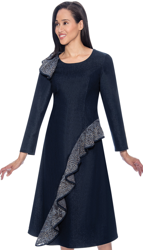 Devine Sport 61801 ( 1pc Denim Dress For Church With Ruffle Adornment )
