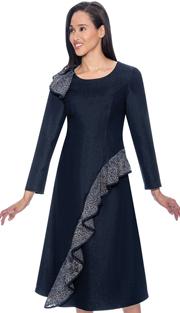 Devine Sport 61801 ( 1pc Denim Dress For Church With Ruffle Adornment )
