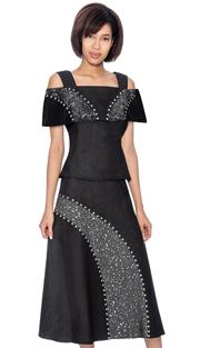 Devine Sport 61792 ( 2pc Denim Skirt Suit With Off The Shoulder Portrait Collar )