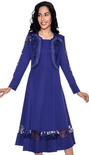 Devine Sport 50952-PUR-IH ( 2pc Denim Ladies Dress With Lace Paneled Bolero, Rhinestone Details And Fit And Flare Dress )