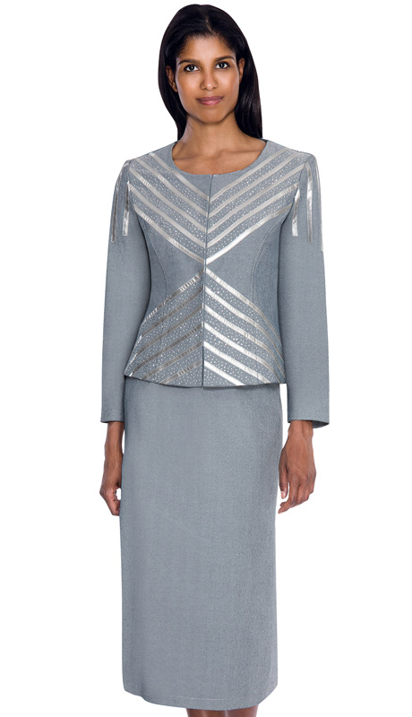 Devine Sport 51092 ( 2pc Denim Womens Church Suit  With Soft Stetch And Metallic Silver Chevron Trim  And Mini Silver Stud Jacket And Straight Skirt )