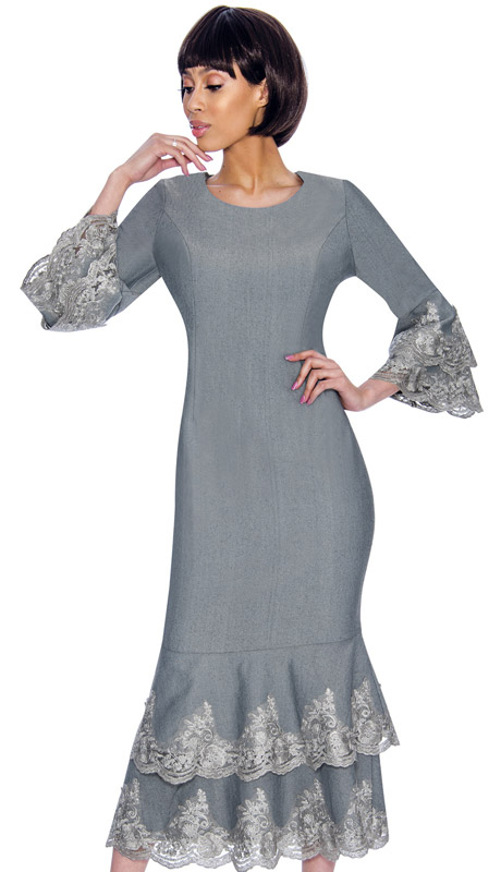Devine Sport 61951-SI ( 1pc Denim Dress With Lace Ruffle Hem And Jeweled Neckline )