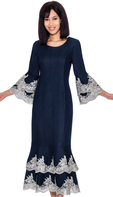Devine Sport 61951-NA ( 1pc Denim Dress With Lace Ruffle Hem And Jeweled Neckline )